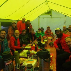 group dining in tent
