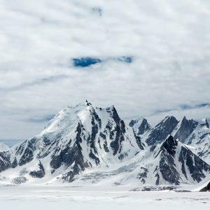 snow lake mountain view